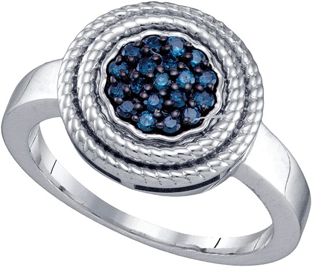 0.25CTW BLUE DIAMOND CLUSTER RING