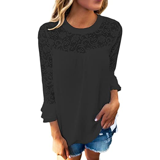 9548c006cc9da2 Kulywon Women's Embroidery Lace 3/4 Sleeve Frill Tops Shirt Blouse T-Shirts