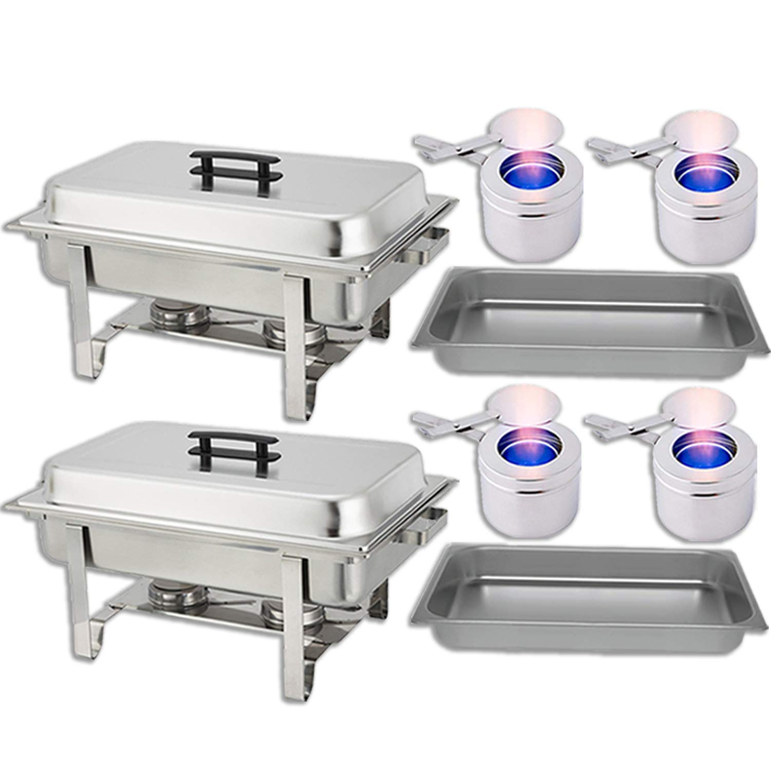 Chafing Dish Buffet Set - Water Pan + Food Pan (8 qt) + Frame + 2 Fuel Holders - Stainless-Steel Warmer Kit 2 Pack