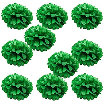 "WYZworks (10 Pack) Tissue Pom Poms - Set of 10 - 14"" Flower Party Decorations for Weddings, Birthday, Bridal, Baby Showers, Nursery, Décor"