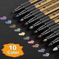 Metallic Marker Pens, Set of 10 Assorted Colours Painting Pens Art Marker for Card Making, Scrapbooking, DIY Photo Album…