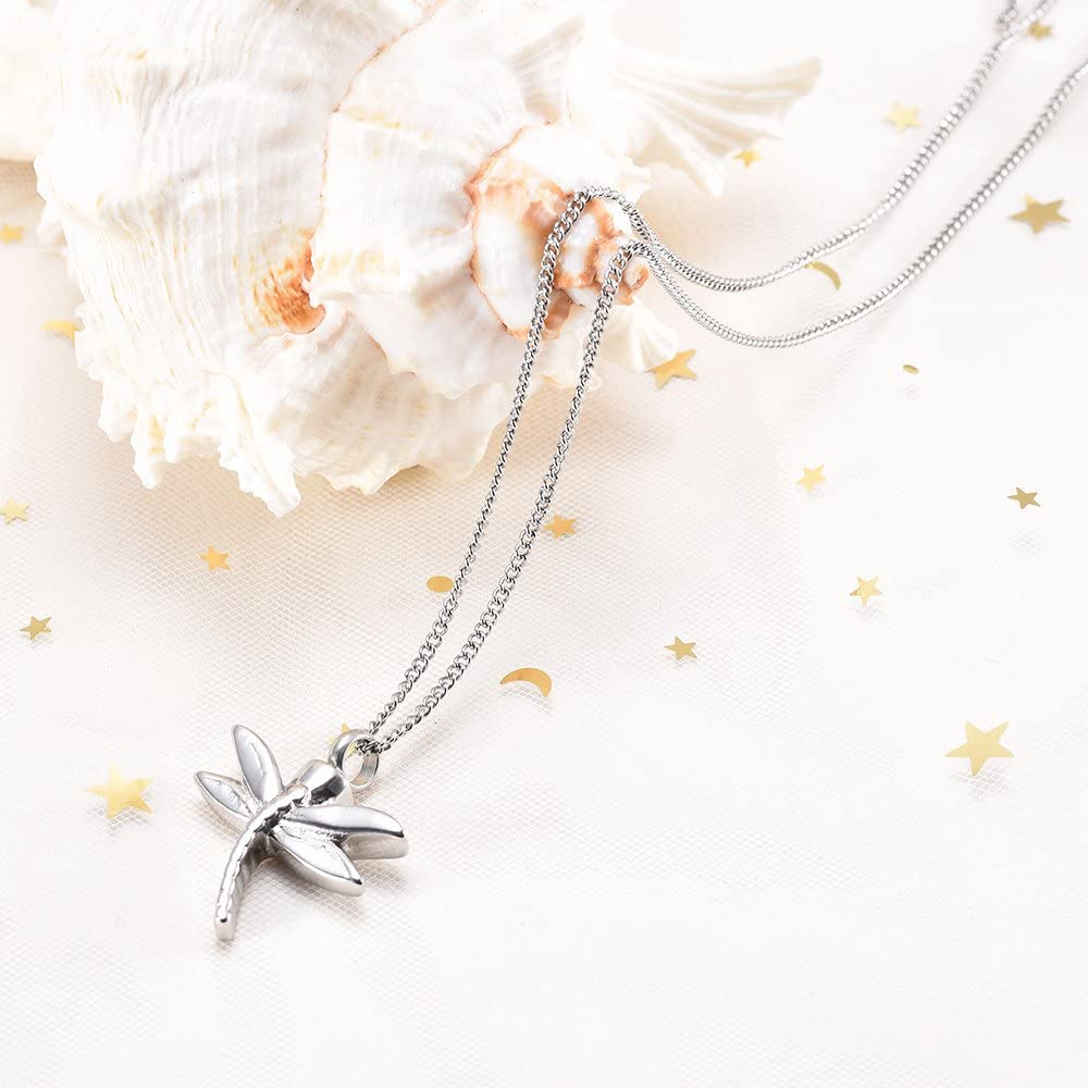 Yinplsmemory Cremation Jewelry for Ashes Cremation Keepsake Dragonfly Ashes Necklace Urn Pendant