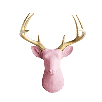 Amazon.com: Wall Charmers Deer in Blossom + Gold Antler - Pink Faux ...