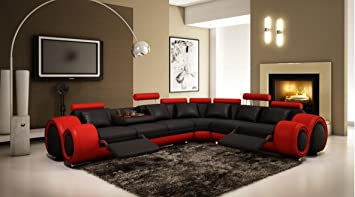 Beau VIG Furniture 4087 Red And Black Leather Sectional Sofa W/ Recliners