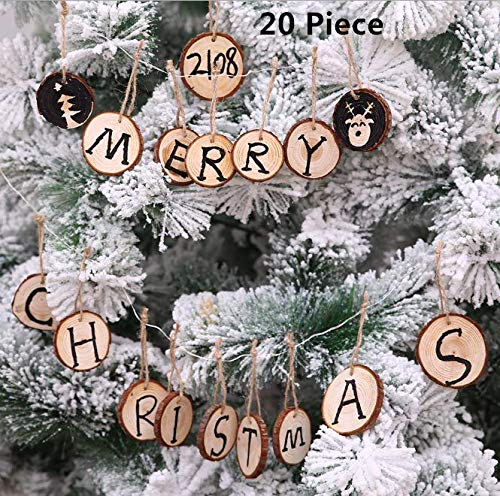 20 Pieces Natural Wood Slices, Magnoloran Unfinished Predrilled with Holes Tree Bark Log Discs Wooden Circles Christmas Ornaments for Christmas Rustic, Wedding Party, Home Decor, Painting Drawing Arts and Crafts (Jute Twine Included)