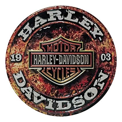 Round Tin Sign Harley Davidson Stone Rust Sign