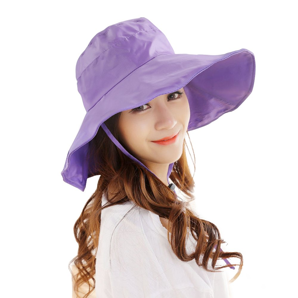 Women's Rain Hats Waterproof Rain Hat Wide Brim Bucket Hat Rain Cap Sun Hats YM001-BR