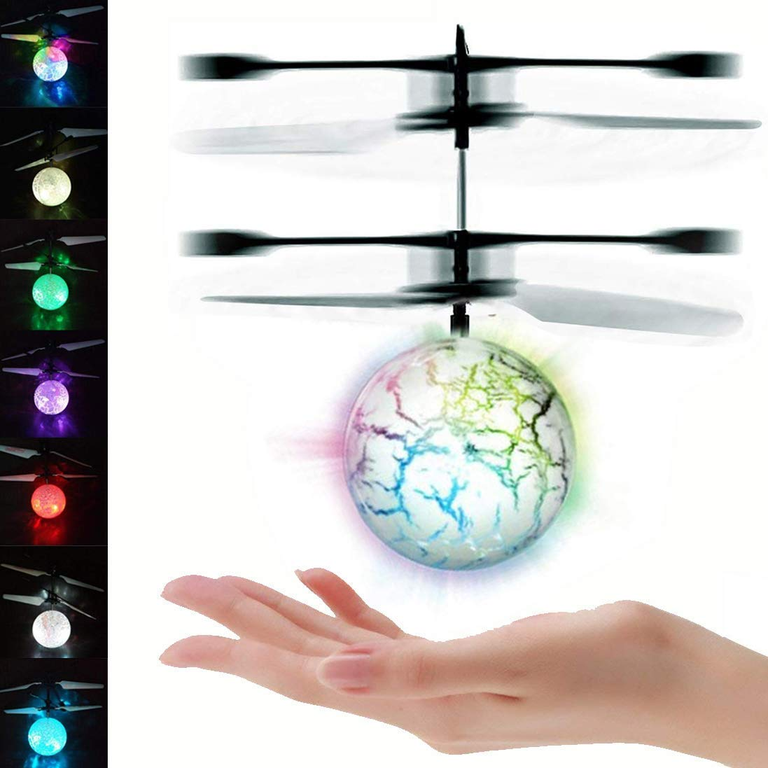 UTTORA Flying Ball, Kids RC Flying Toys Infrared Induction Models Aircraft Helicopter Ball Kids Gadgets Mini Drone Flying Toys Built-in 7 Color Changing LED Lights for Kids Adults (RGB1)