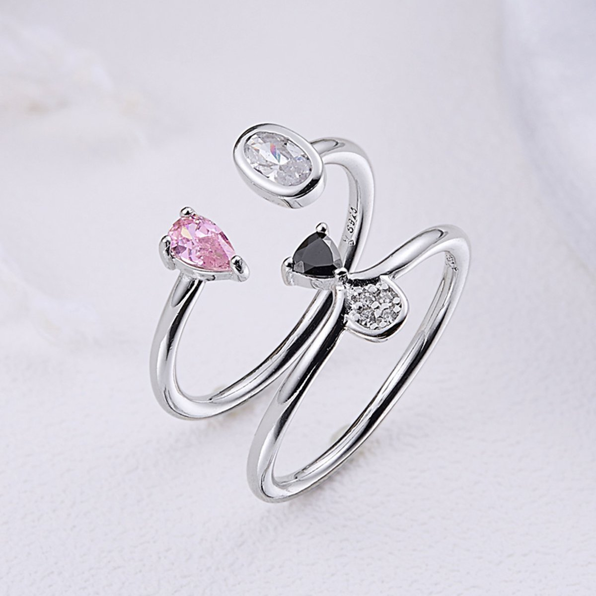 Pink /& Clear CZ The Kiss Cute Doggy Face Dog Open 925 Sterling Silver Ring