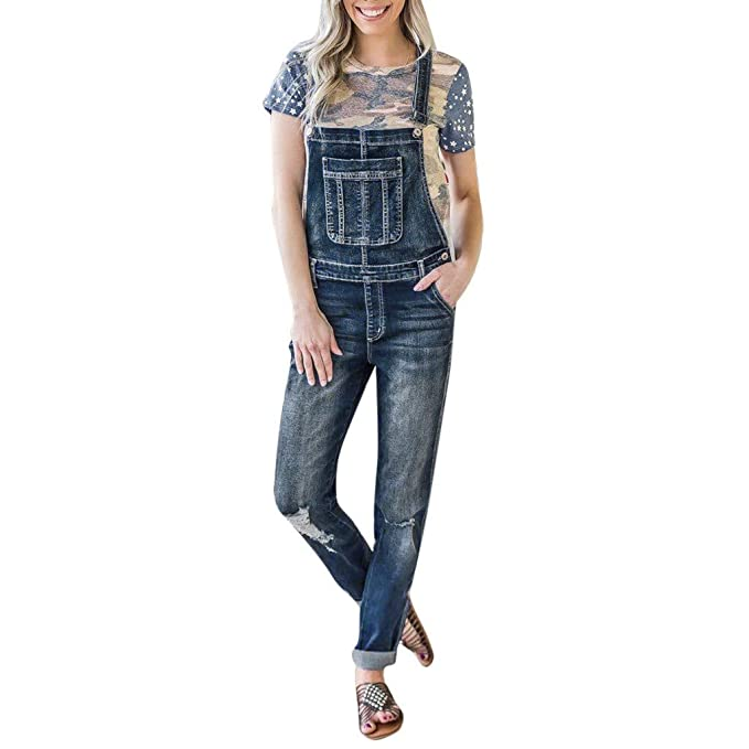 NPRADLA Vaqueros Jeans Tendencia Mujeres Casual Denim Bib ...