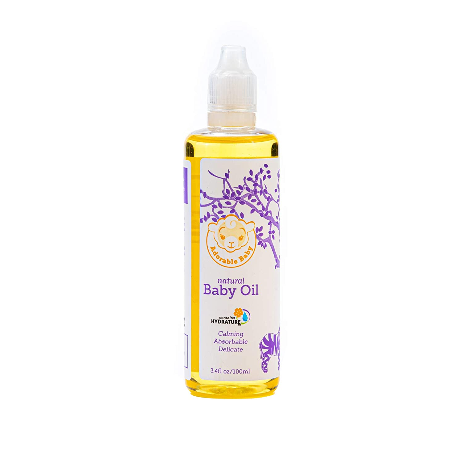 Adorable Baby Natural Baby Oil, EWG VERIFIED for Safety, Contains Hydrature for Added Moisturization, 3.4 oz.