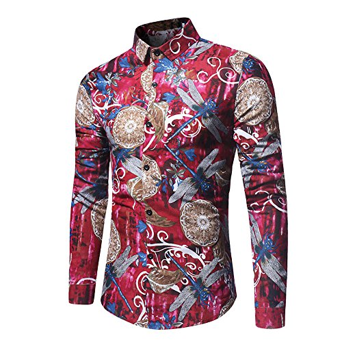 Sunglasses Striped Dragon (Realdo Men's Dragonfly Print Shirt, Fashion Multi Slim Long Sleeve Top Formal Casual Occasion(Red,Large))