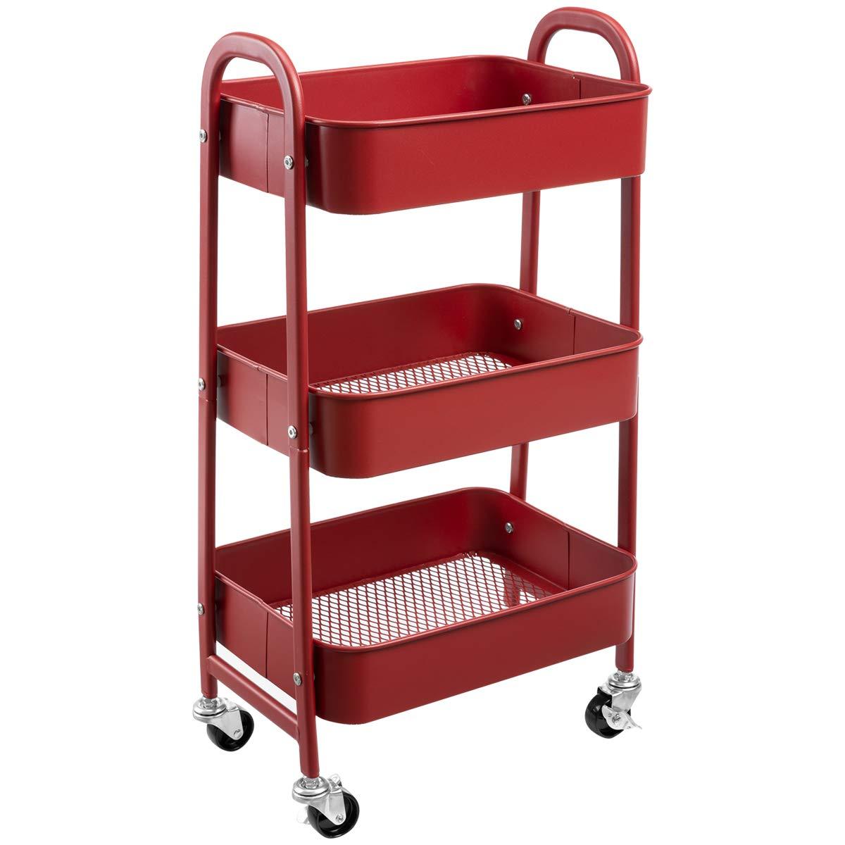 AGTEK Makeup Cart, Movable Rolling Organizer Cart, 3 Tier Metal Utility Cart, Brick Red