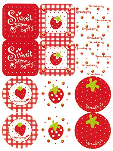 LSW Set of 120 Strawberry Stickers (Red and White)