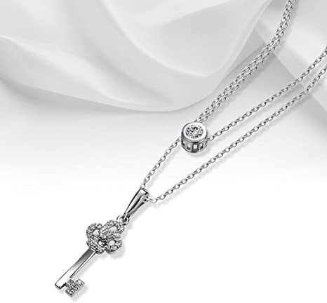 Fashion Unisex Women Cross White Gold Plated Crystal Necklace Pendant Chain Gift