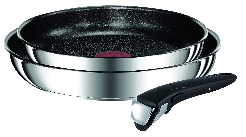Tefal Ingenio Preference L9409202 - Set de sartenes 24/28 cm con mango, acero inoxidable, thermo-spot, apto tipo de fuegos y inducción, apto para horno, ...