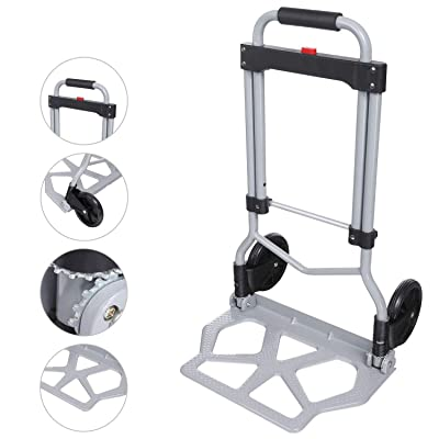 Folding Hand Truck Dolly, 100Kg/220 lbs Heavy Duty 2-Wheel Aluminum Cart Compact and Lightweight for Luggage, Moving and Office Use: Office Products