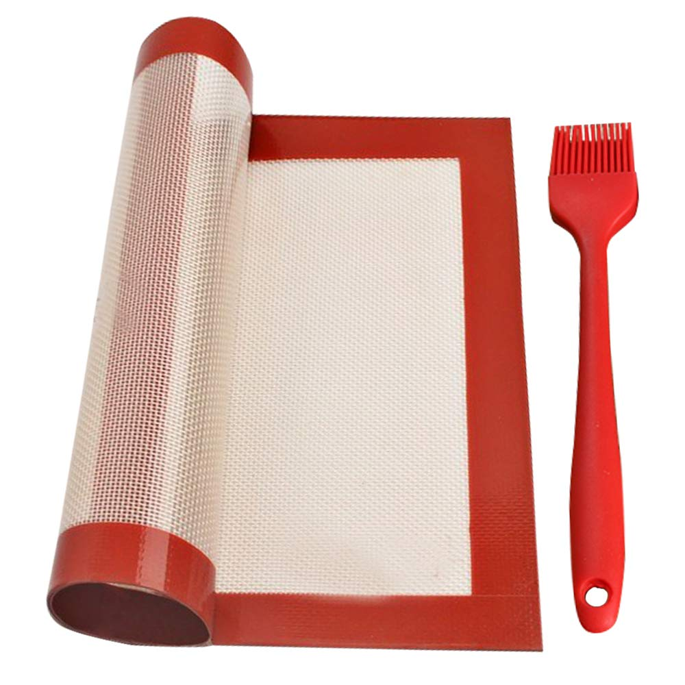 Baking Mat by Sunta,Silicone Non-stick Baking Mat,High Temperature Resistant Silicone fiberglass,16.511.6 Inch Oven Mat Baking Mat + Oil Brush 8' (Wine Red) 16.511.6 Inch Oven Mat Baking Mat + Oil Brush 8' (Wine Red)