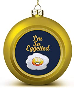 MOTABAG Im So Eggcited Customized Christmas Ball Decoration Beautifully Decorated Christmas Ball 2.4 2.8in (Yellow) Large Perfect Hanging Ball, Suitable for Holiday Wedding Decoration