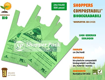 Shopper biodegradabli compostables – Tamaño 24 x 14 x 40 – Caja de ...