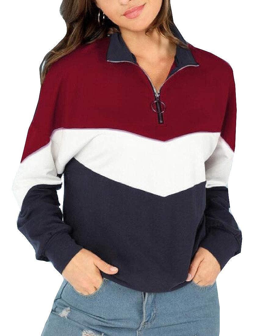 Alion Womens Color Block Long Sleeve Zip up Pullover Sweatshirt
