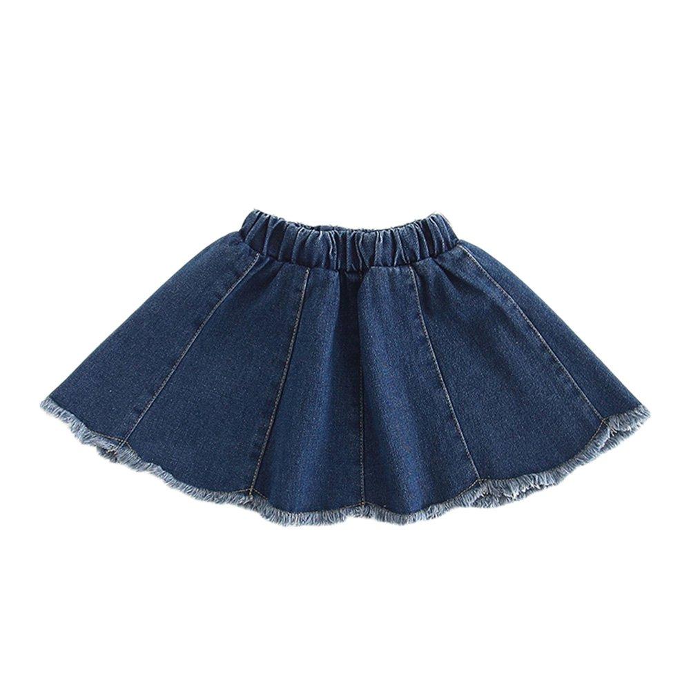 LaoZanA Gonna di Jeans Bambina Ragazze Elastico in Vita Gonne Jeans Corto A-Line Denim Gonna