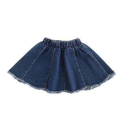 LaoZanA Niñas Falda Vaquera Faldas Cortas Cintura Alta Faldas De ...
