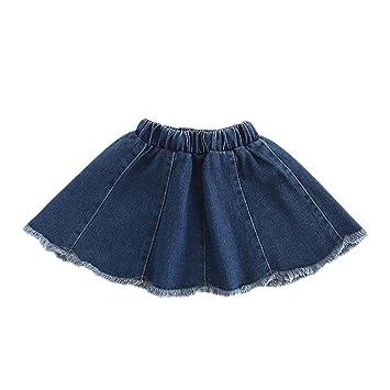 0cdf922627 LaoZanA Niñas Falda Vaquera Faldas Cortas Cintura Alta Faldas De Mezclilla  Plisada Azul  Amazon.es  Deportes y aire libre