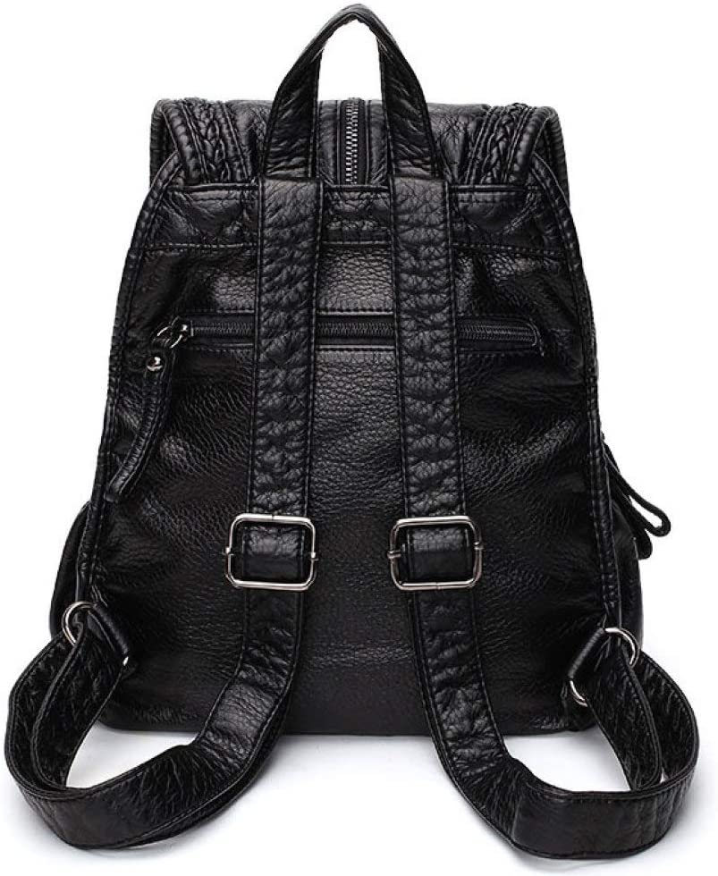 LAIDAYE Bag for Womens Simple Backpack Womens Casual Weaving Soft Pu Travel Bag Large Capacity Student Bag