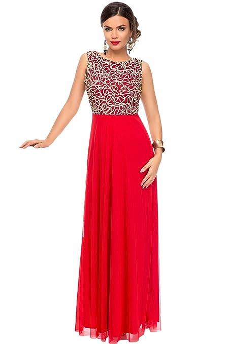 Vestido largo de tul dorado y rojo, elegante, para fiesta de cóctel, de