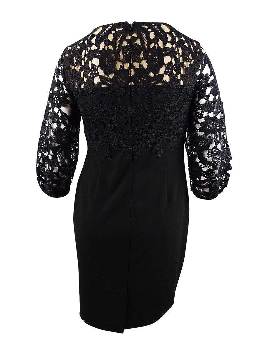 LAUREN RALPH LAUREN Womens Claire Lace Trim Boatneck Sheath Dress