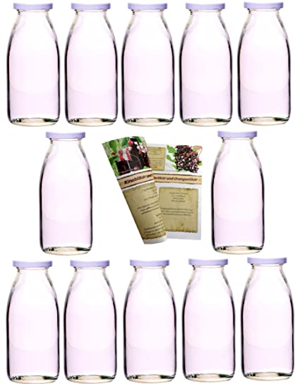 guoveo - 12 botellas de zumo de 250 ml con tapón de rosca blanco, botellas