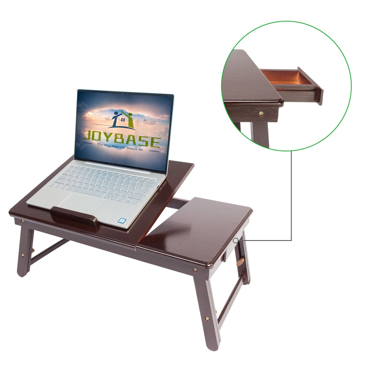 JOYBASE Adjustable Lapdesk Bed Tray Table with Tilting Top Storage Drawer, Portable Foldable Laptop Desk for Breakfast Reading Writing Eating Drawing, Bamboo (Coffee)