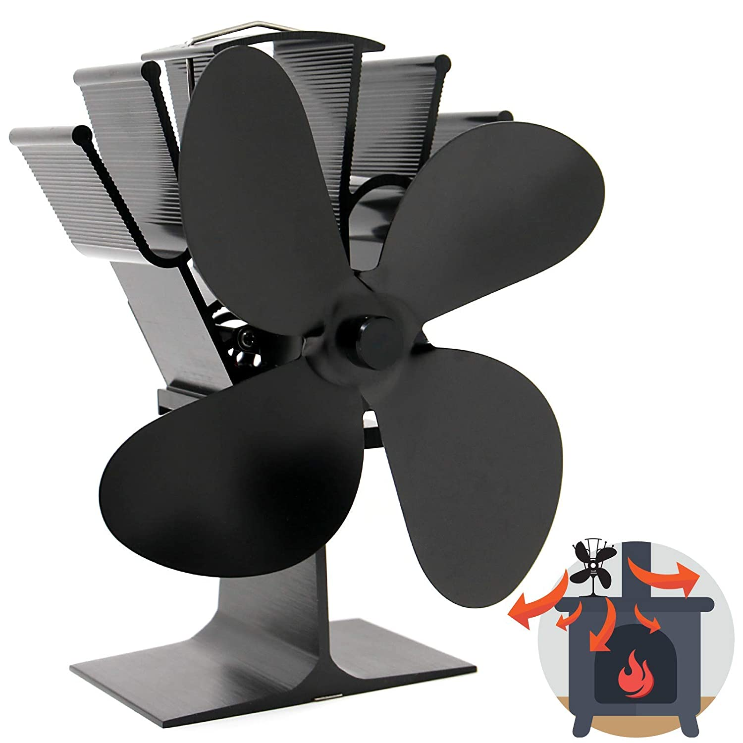 Heat Powered 4 Blade Stove Fan | Silent Operation | Fireplace Wood & Log Burner | Increased Efficiency | Safe & Eco Friendly | M&W