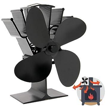 Ventilador de Estufa de 4 Cuchillas Accionado por Calor | Operación Silenciosa | Chimenea de Madera y Estufa de Leña | Mayor Eficiencia | Seguro y ...