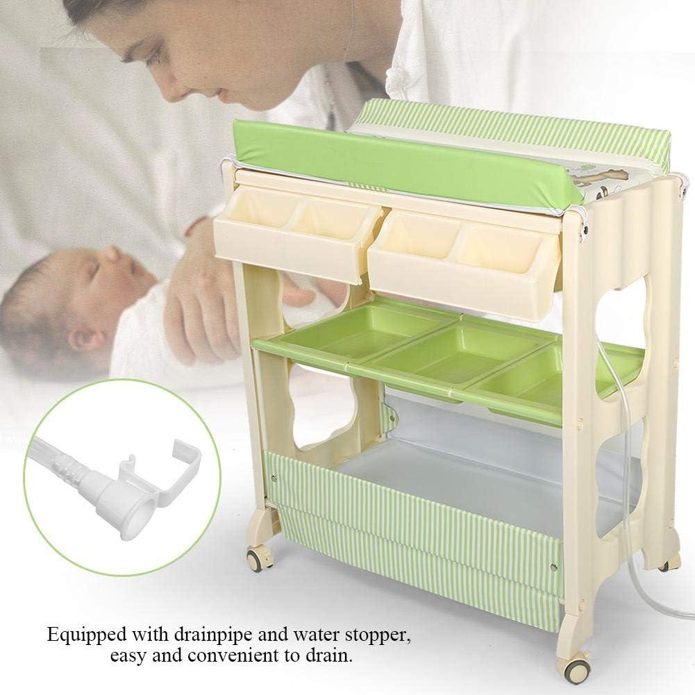 Soulong Table A Langer Avec Baignoire Pour Bebe 3 Niveaux Commode A Langer Impermeable A 4 Roulettes Verrouillables Combinaison Baignoire Table A Langer Vert