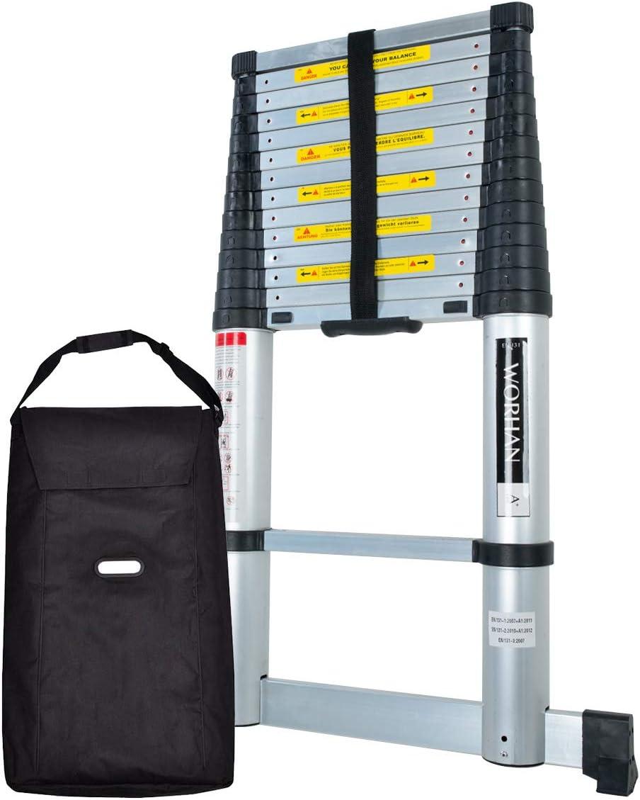 WORHAN® Escalera telescópica PRO tecnología Air Soft Close aluminio anodizado sólido extensible con una barra estabilizadora: Amazon.es: Bricolaje y herramientas