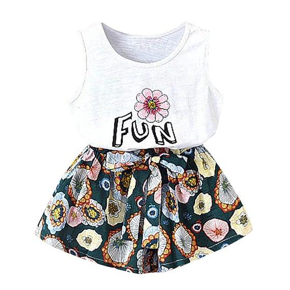 BURFLY Mädchen Baby ärmellose Brief Print Weste + floral weites Bein Shorts lose beiläufige Hosen Urlaub Beachwear