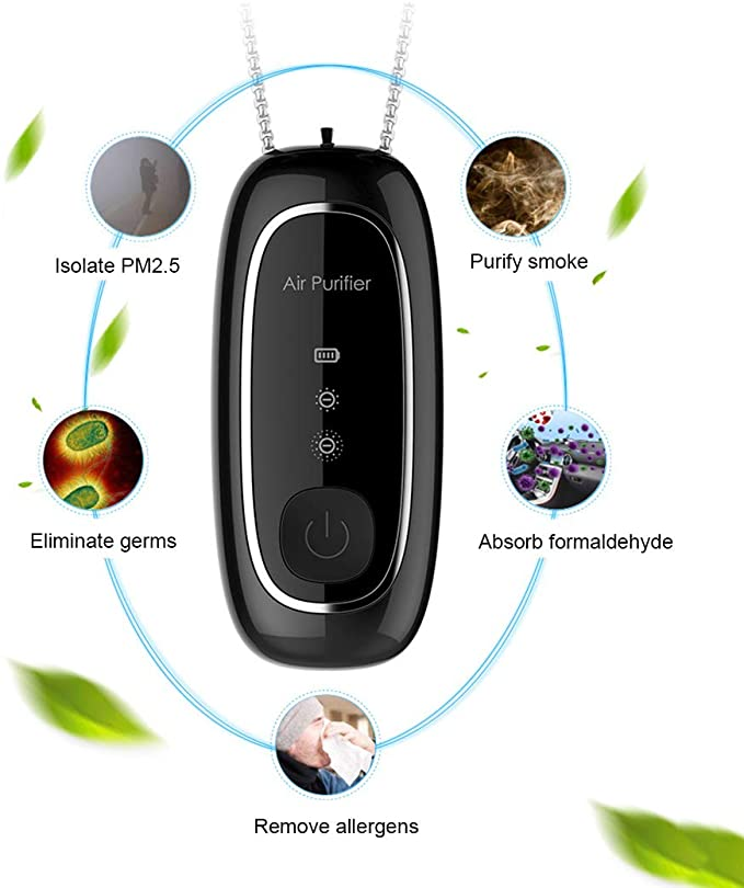 HUWAI-F Personal Air Purifier Necklace No Radiation Low Noise Pink Remove Allergies Odors Dust Portable Wearable Air Purifier
