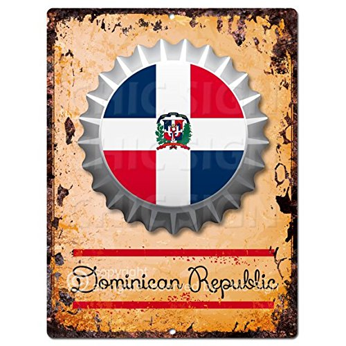 Chic Sign COUNTRY DOMINICAN REPUBLIC Flag Bottle Cap Rustic Vintage Retro Kitchen Bar Pub Coffee Shop Wall Decor 9