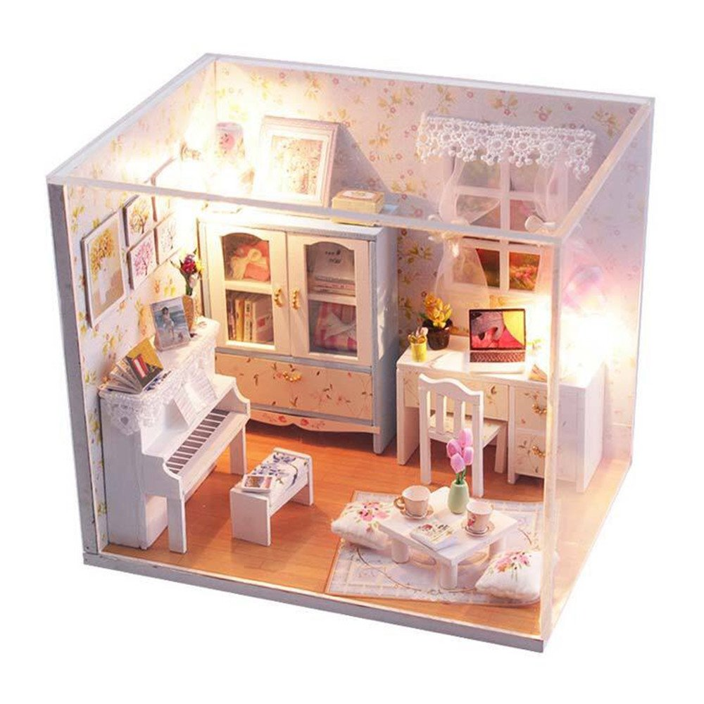 mini doll furniture. Amazon.com: Flever Dollhouse Miniature DIY House Kit Creative Room With Furniture And Cover For Romantic Artwork Gift (blooming Summer Day): Toys \u0026 Games Mini Doll B