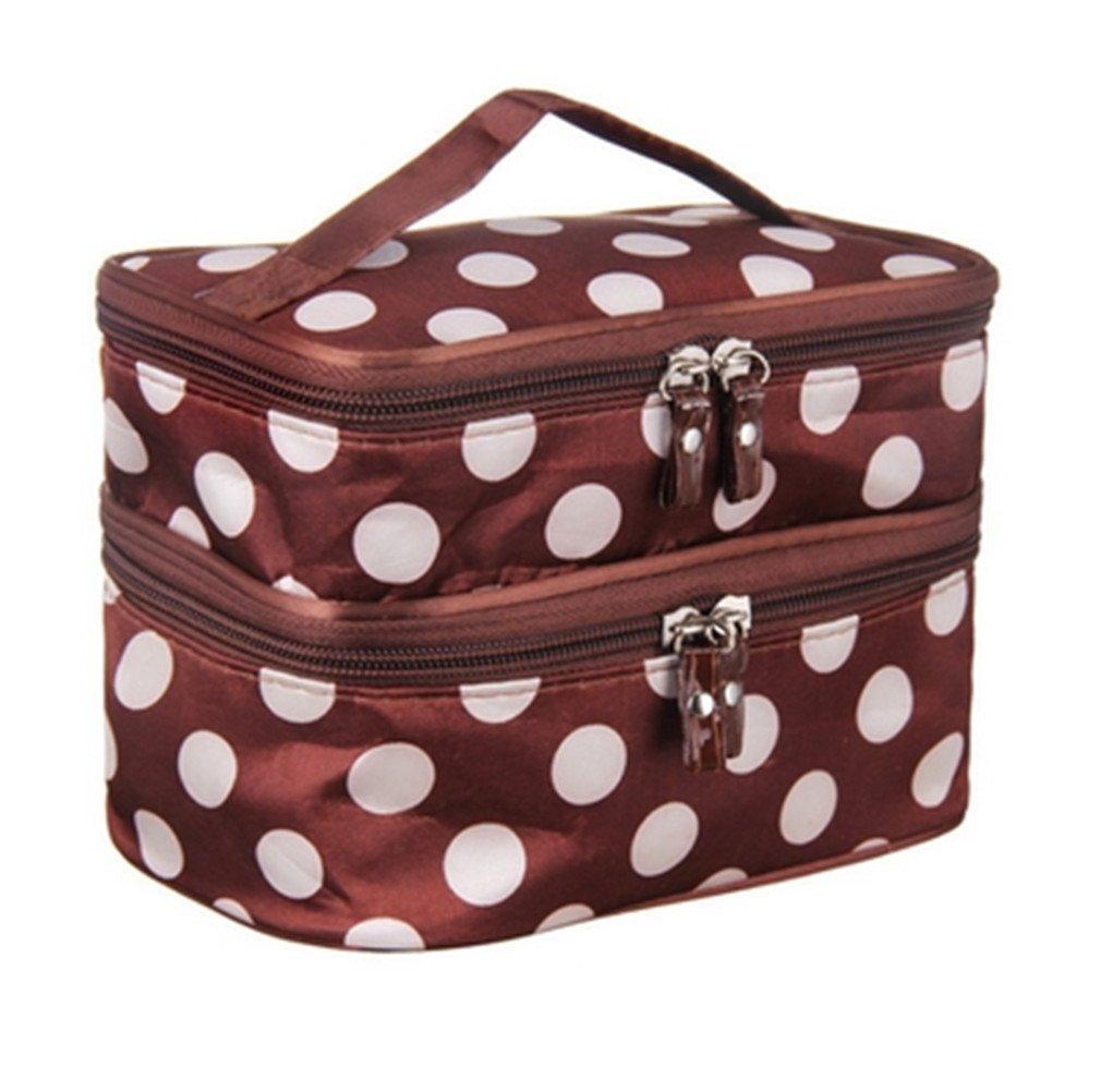 Cute Dot 2 Layer Cosmetic Bag Women Travel Necessaries High-Capacity Storage Brown