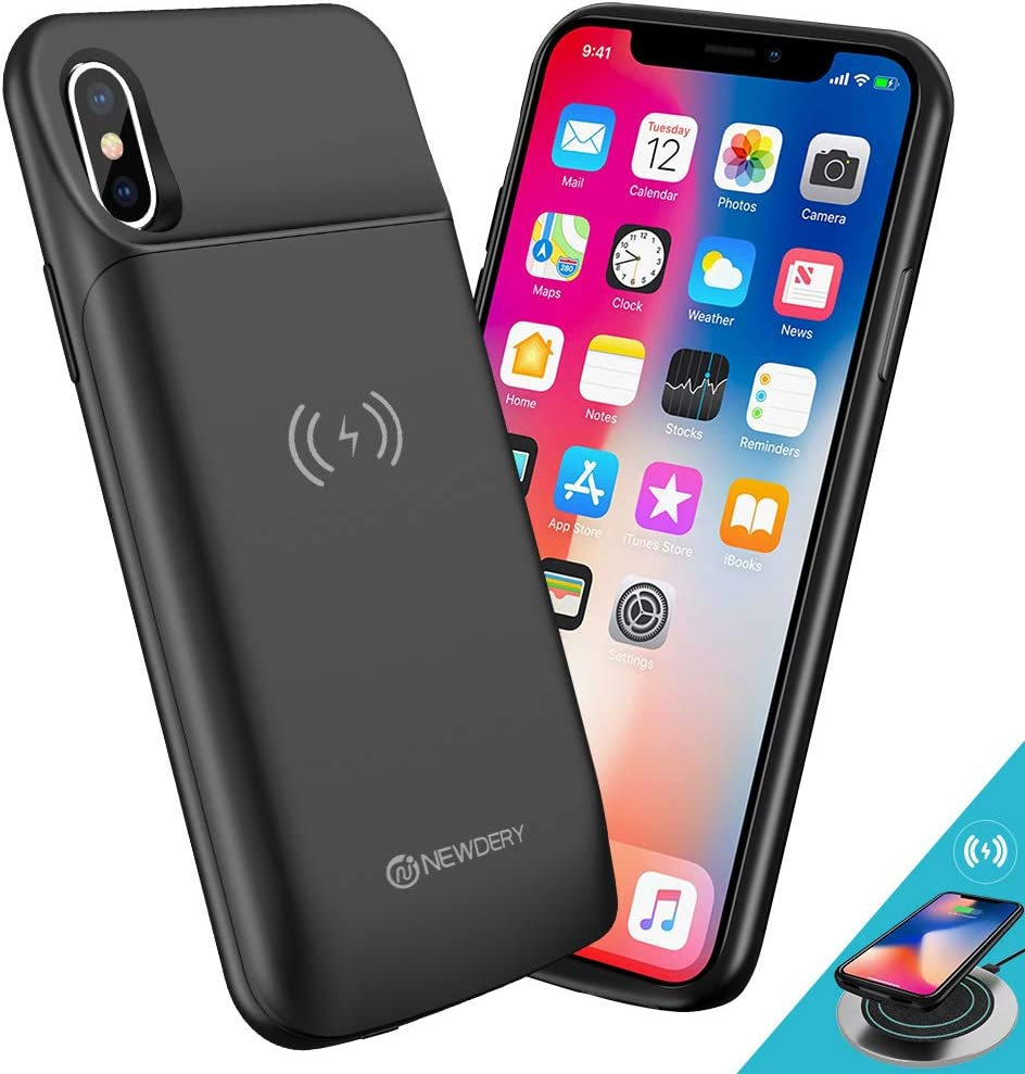 NEWDERY Battery Case for iPhone XXs, 6000mAh Battery Case Support Qi Wireless Charging Slim Rechargeable External Charging Case Power Bank Compatible