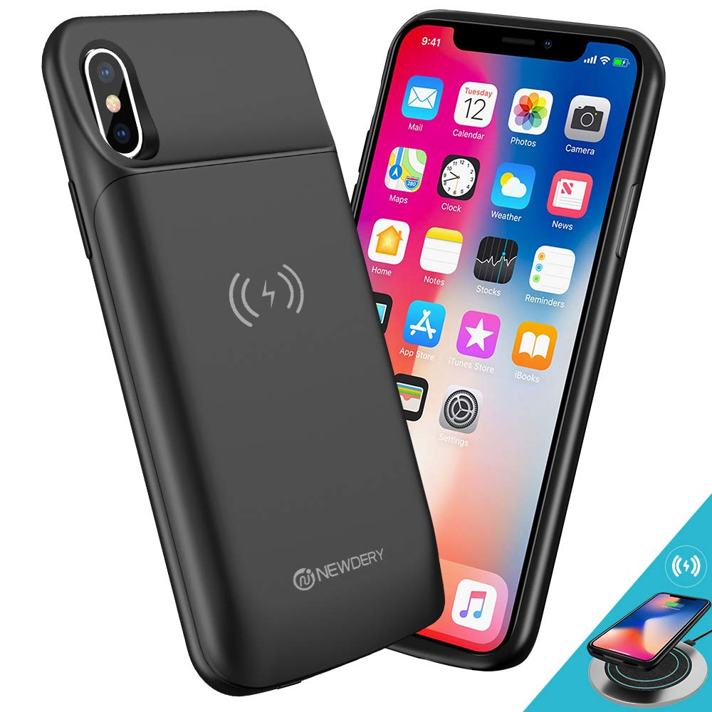 [Upgraded] iPhone X/Xs Battery Case Qi Wireless Charging Compatible, Newdery 6000mAh Slim Extended Rechargeable External Charger Case Compatible iPhone X/Xs/10 (5.8'' Black)