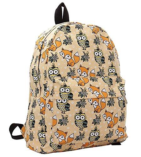Travel Daypacks Bag Casual Women apricot Minetom Lightweight Girls Canvas Backpack Wearing Ladies Owl Hard Fox School Rucksack UwOq8w7Px