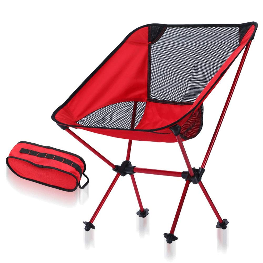 Red+black net Tao-Miy Camping Chairs, Ultralight Chairs, Moon Leisure Chair, Folding Camping Chair Travel, Picnic, Beach, Fishing