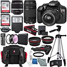 Canon EOS Rebel T6 DSLR Camera with 18-55mm, EF 75-300mm Lens, and Deluxe Bundle