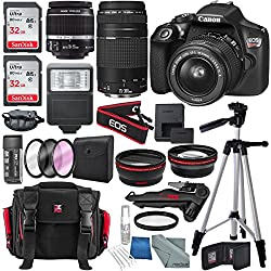 Canon Eos Rebel T6 Dslr Camera With 18-55mm, Ef 75-300mm Lens, & Deluxe Bundle