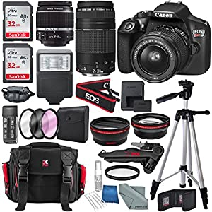 61aKs8oQFmL. SS300  - Canon EOS Rebel T6 DSLR Camera with 18-55mm, EF 75-300mm Lens, and Deluxe Bundle