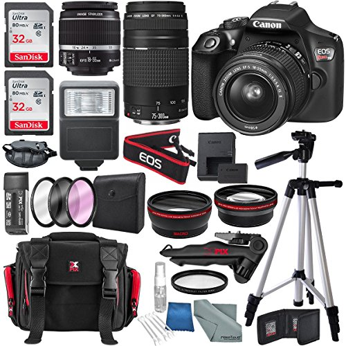Connectivity Video Kit (Canon EOS Rebel T6 DSLR Camera with 18-55mm, EF 75-300mm Lens, and Deluxe Bundle)